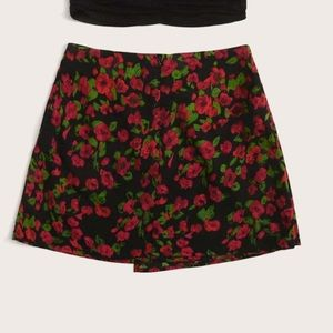 Asymmetrical Black & Red Floral Mini Skirt